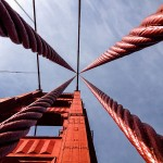 Finalist: A view straight up the support cables of the Golden Gate Bridge in Marin County, California. By Gabe Torney.