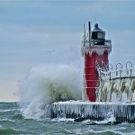 Third Place: A lighthouse along Lake Michigan in South Haven Harbor, Michigan. By user Nanamac47.